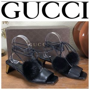 NWT Gucci Black Leather Betis Glamour Sandals